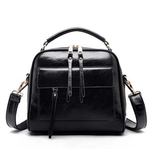 Black leather crossbody bags with multiple compartments