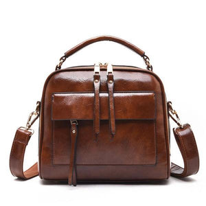Brown leather crossbody bags with multiple compartments