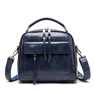 Blue leather crossbody bags with multiple compartments