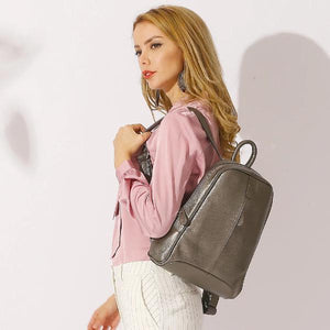 silver leather backpack