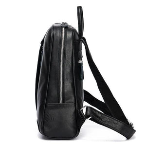 Soft leather backpack close with zipper