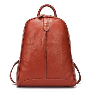 Brown soft genuine leather backpack