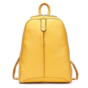 Yellow soft genuine leather backpack