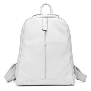 White soft genuine leather backpack