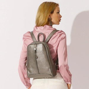 Bronze leather backpack