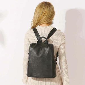 Real Leather women backpack black