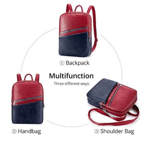 Multifunction leather backpack with convertible strap