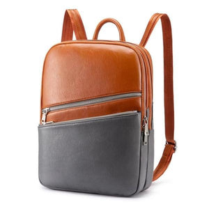 Orange and gray Laptop backpack with two separate compartment with zipper