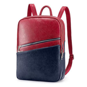 Red and blue Laptop backpack with two separate compartment with zipper