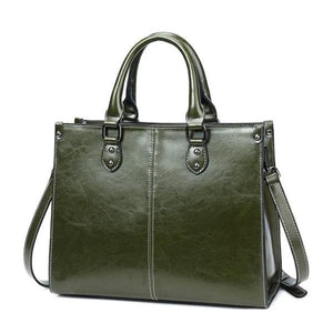 army green leather cross body handbags with top handles