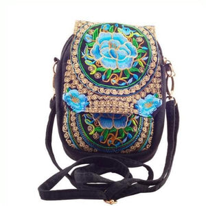 Blue flower ethnic small bag