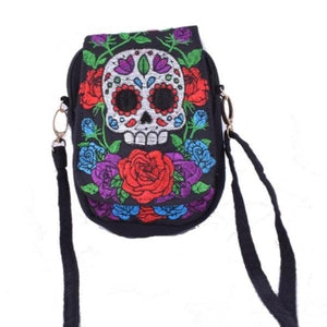 Mexican head skull flower ethnic small bag