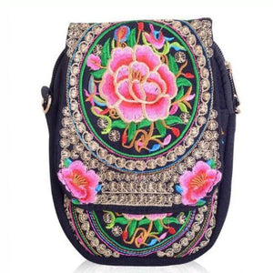 Pink flower ethnic small bag