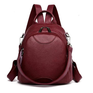 Red Small leather backpack purse with shoulder strap