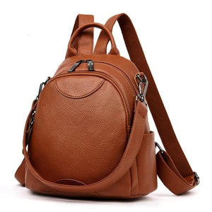 Brown Small leather backpack purse with shoulder strap