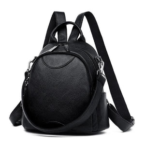 Black Small leather backpack purse with shoulder strap