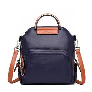 Blue leather convertible backpack crossbody