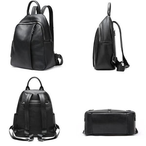 Small black leather backpack