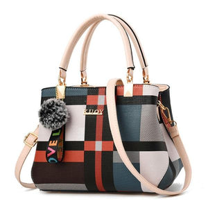 Plaid crossbody bag with white handles