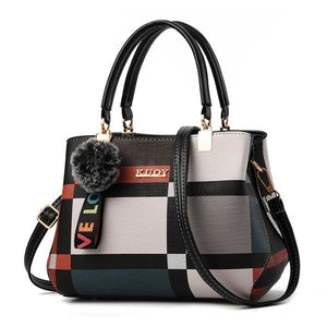 Plaid crossbody bag with black handles