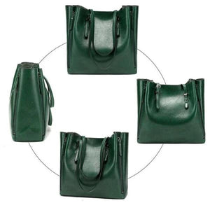 green faux leather tote bag