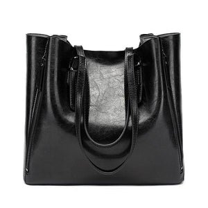 Black leather tote bags with zipper closure