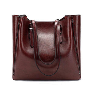 Burgundy leather tote bags with zipper closure