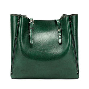 Green leather tote bags with zipper closure