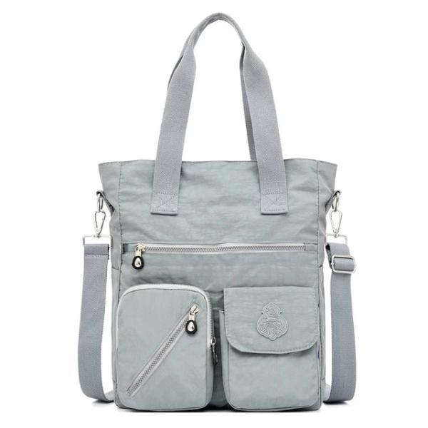 Grey nylon tote bag with zipper closure for women