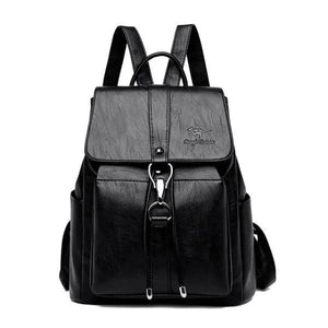 Black Leather backpack for women with a hook