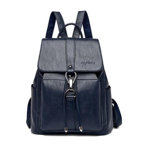 Blue Leather backpack for women with a hook