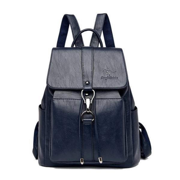 Gray Leather backpack for women with a hook