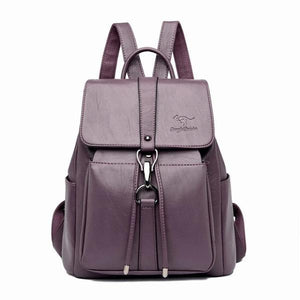 Purple Leather backpack for women with a hook
