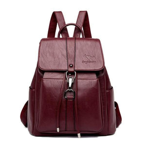 Red wine leather backpack for women with a hook