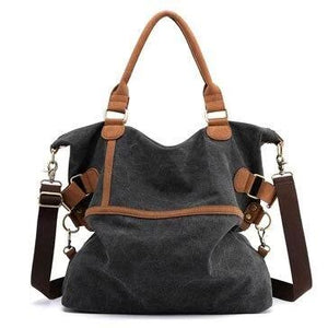 Black canvas laptop messenger large bag women