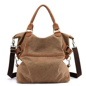 Brown canvas laptop messenger large bag women