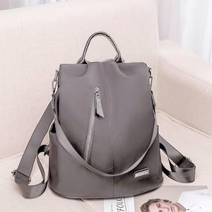 Gray convertible nylon backpack purse anti theft