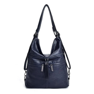 Blue leather crossbody backpack bag