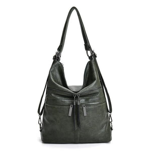 Green leather crossbody backpack bag