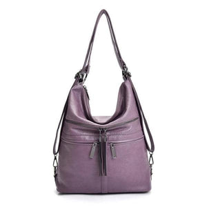 Purple leather crossbody backpack bag