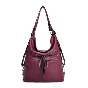 Red leather crossbody backpack bag