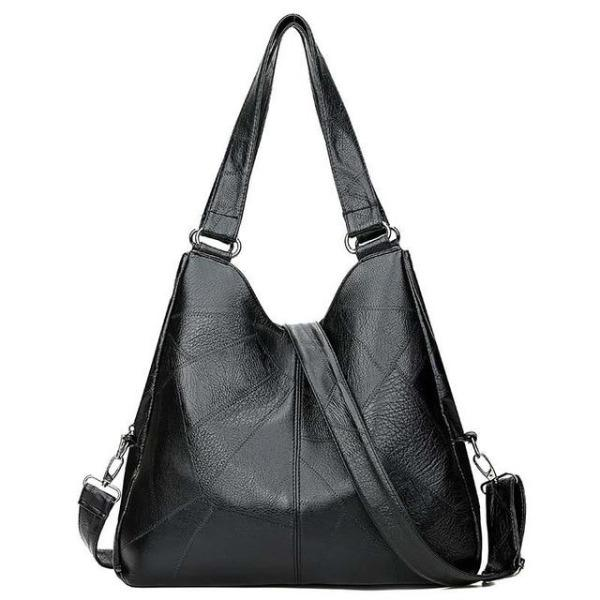 Black large leather handbag with top handles