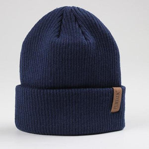 fluffy beanie hat dark blue