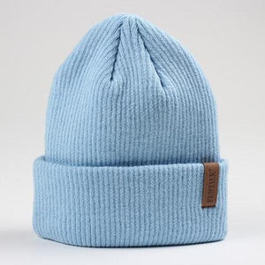 fluffy beanie hat blue