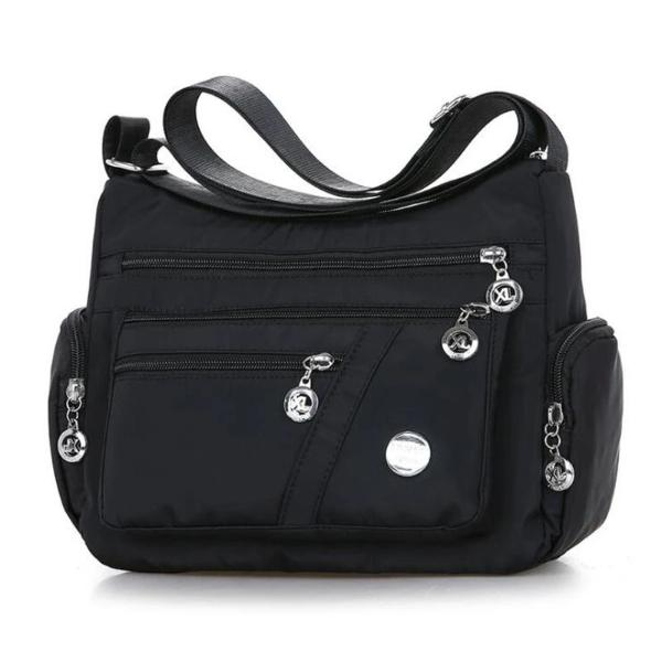 Black crossbody lightweight nylon shoulder bag