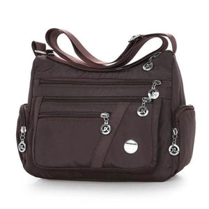 Coffe crossbody lightweight nylon bag