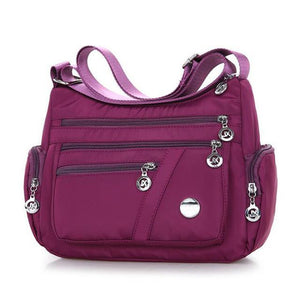 Purple crossbody lightweight nylon bag