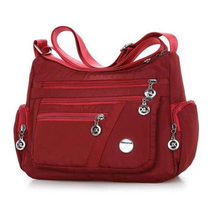 Red crossbody lightweight nylon bag