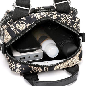 storage compartment elephant print bag