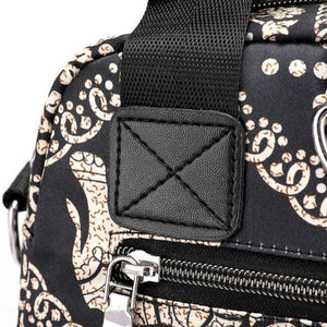 Elephant printed bag with rear zipper closure